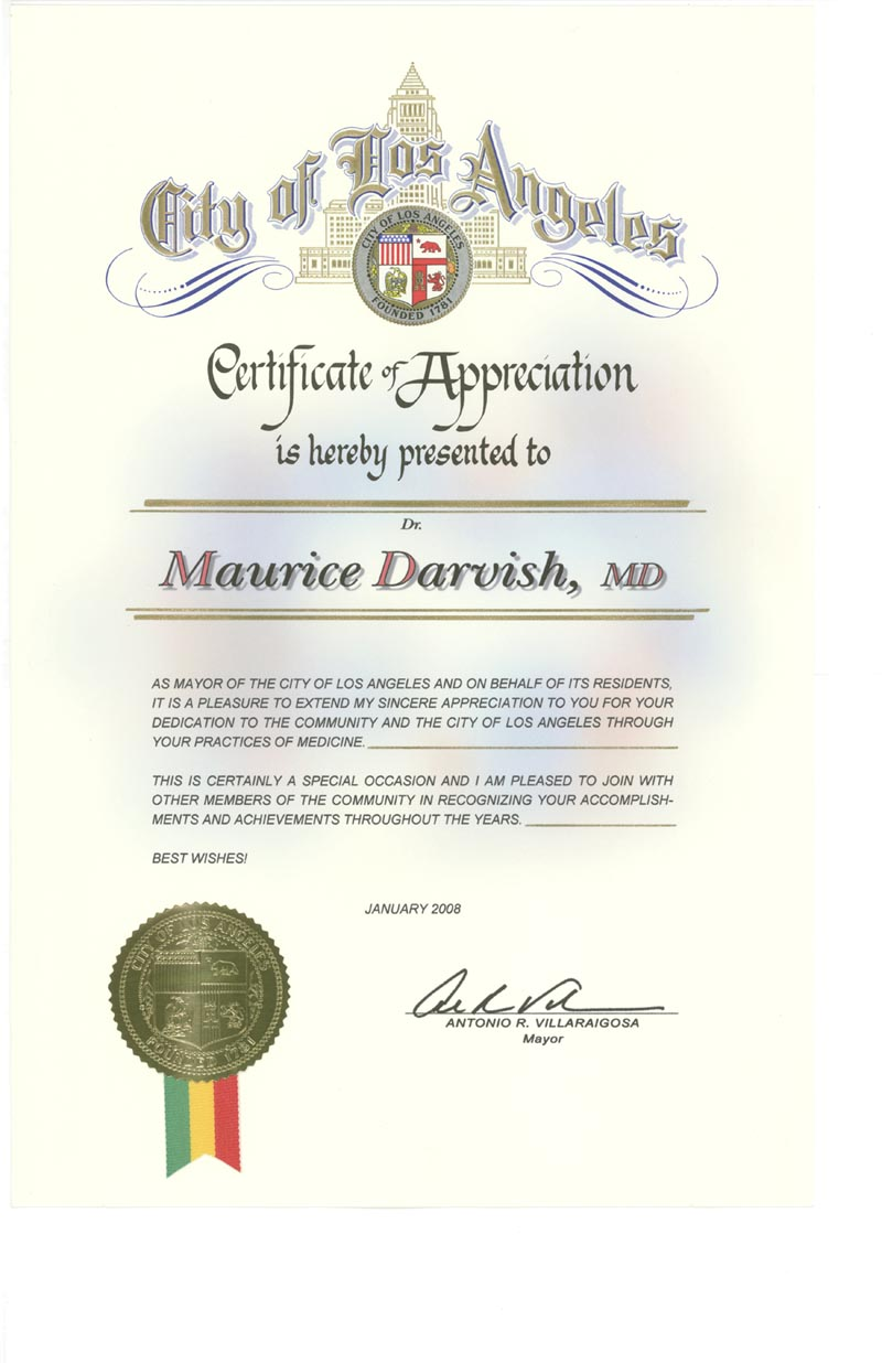 Physicians urgent care walk in clinic workers comp doctor dr darvishs certificate of appreciation from the city of los angeles 1betcityfo Gallery